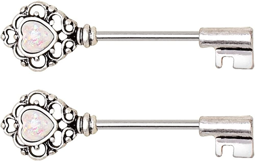 14GA 316L Surgical Steel Victorian Filigree Heart Key with Synthetic Opals Nipple Barbells, Sold as a Pair