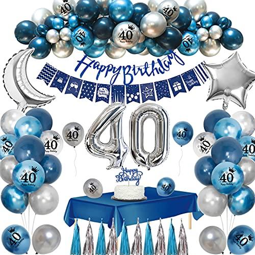 Globos 40 Cumpleaños,APERIL 40 Años 40th Decoraciones Cumpleaños para Hombres,Globo Azul Marino Globos de Plateados Azul Impresos,Globo Papel Aluminio Pancarta Feliz Cumpleaños Manteles