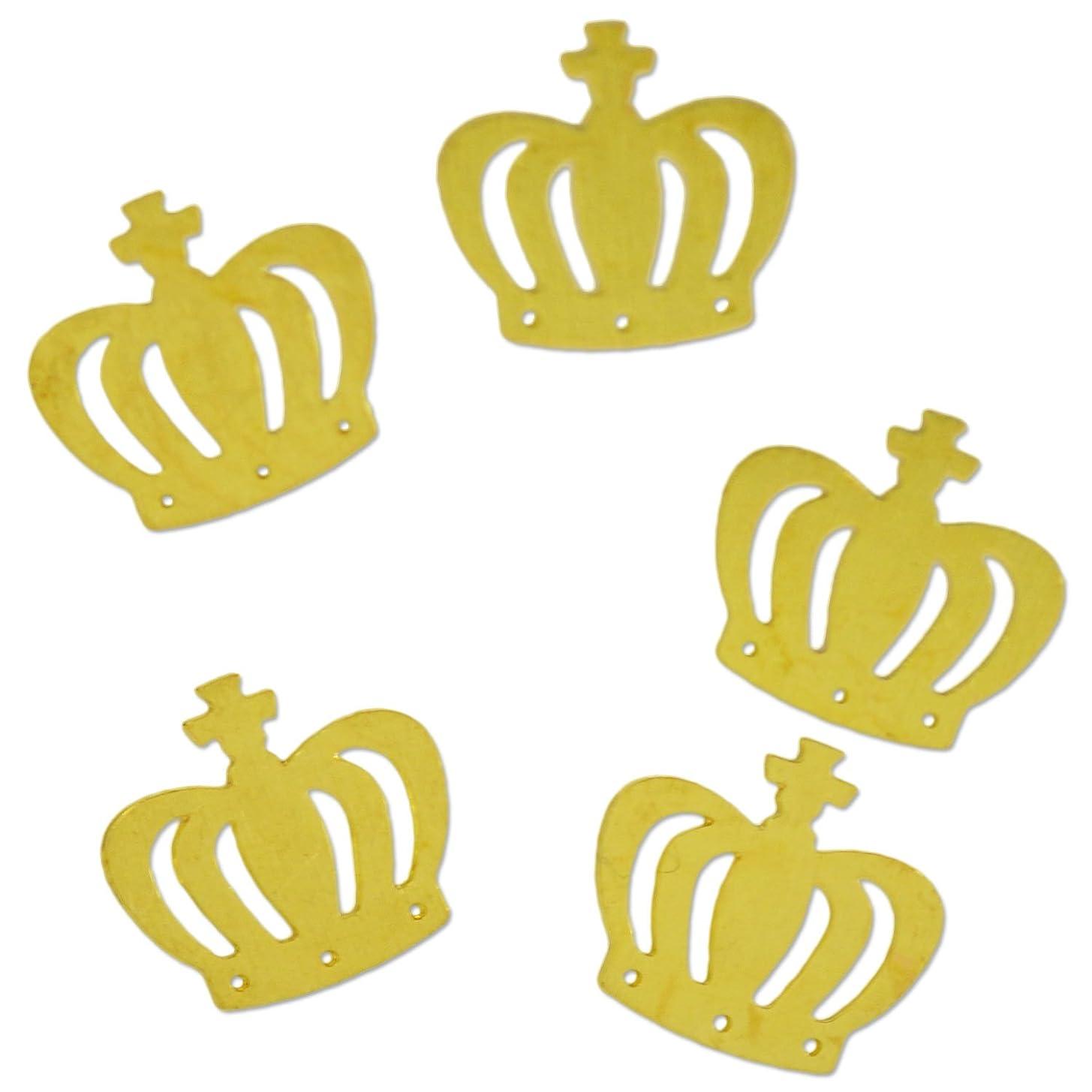 兄弟愛ドメインヘッジ薄型メタルパーツ10036 王冠 クラウン CROWN 5mm×6mm ゴールド 20p入り