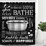 COLOR VALLEY ART Black Shower Curtain, 72''x 72'' Modern Fabric Shower Curtains for Bathroom,Black and White Shower Curtain Liner with Hooks,Waterproof and Machine Washable (Black)