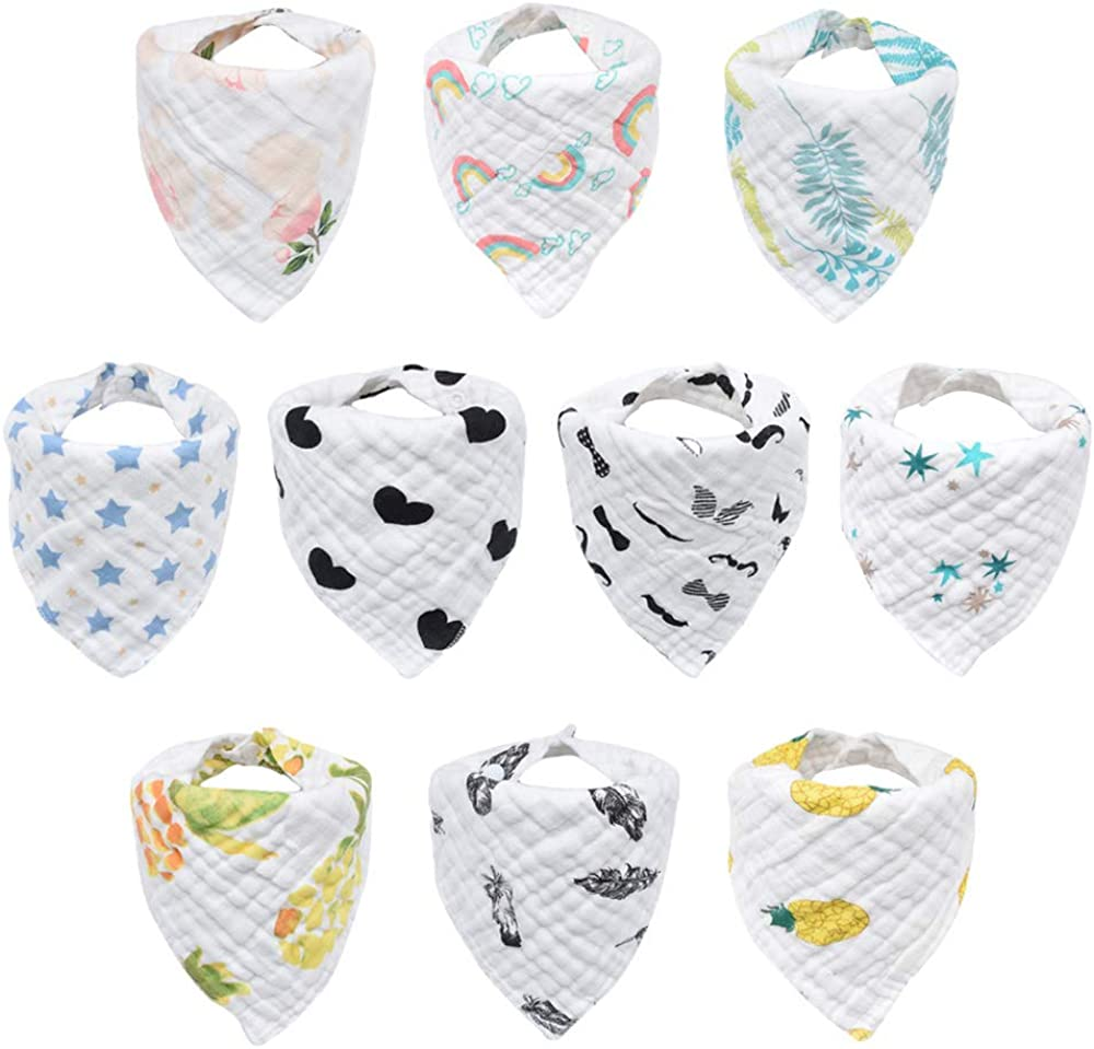 10-Pack Baby Bibs, Bandana Drool Bibs for Drooling and Teething, 100% Organic Cotton, Unisex Bibs for Baby Boys & Girls