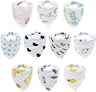 10-Pack Baby Bibs, HECCEI Bandana Drool Bibs for Drooling and Teething, 100% Organic Cotton, Soft and Absorbent, Hypoaller...