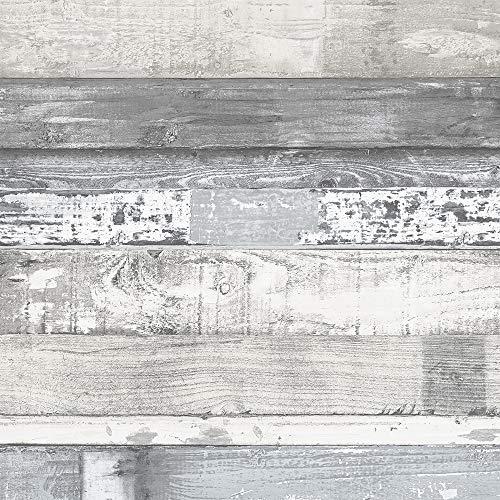 Norwall FH37554 Beachwood Prepasted Wallpaper, White, Blue, Grey, Dove