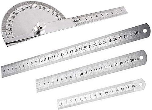 PPX 3pcs Règle en Acier Inoxydable Stainless Steel Ruler Règle de Bureau Outil de Mesure15,20,30cm Mesure de règle de...