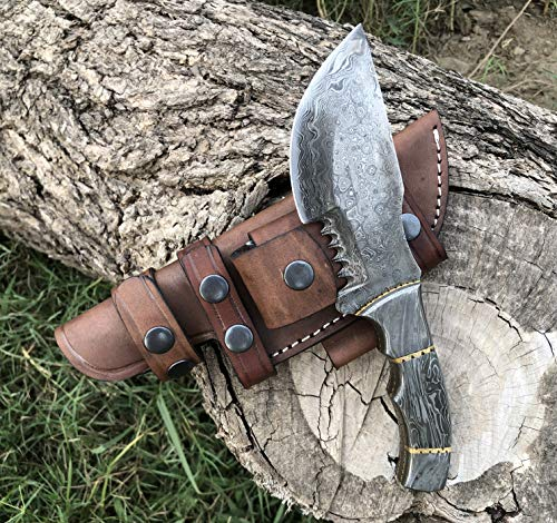 Custom Handmade Damascus Tracker Knife with Full Damascus Steel Handle Knife Fixed Blade - Hunting Knife Full Tang with 100% Pure Cowhide Leather Sheaths Horizontal