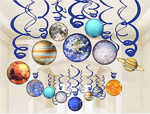 LINDOO 30Pcs Solar System Party Supplies - Outer Space Party Planet Hanging Swirl Decorations