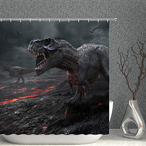 Duschvorhang mit Dinosaurier-Motiv, Tierwelt, Dinosaurier & Drachen, schwarz & rot, dekorativer Stoff, Badezimmervorhänge, 228 x 178 cm, wasserdicht, Polyester mit Haken