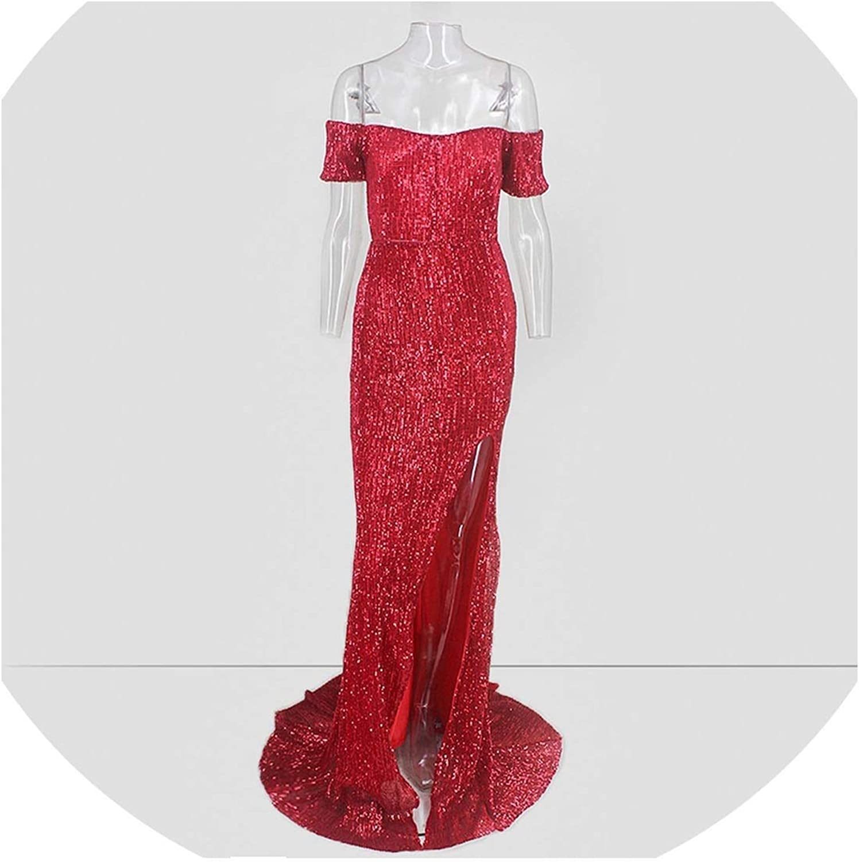 Boommoon Off The Shoulder Long Dress Party Dress Women Silver