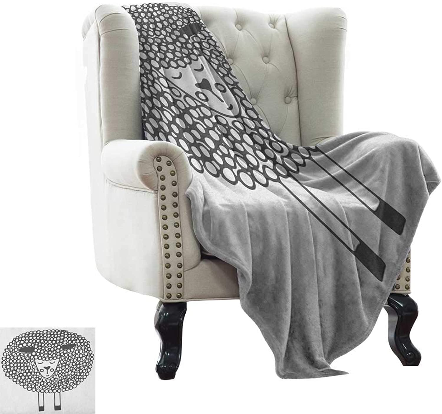 LsWOW Weighted Blanket for Kids Grey and White,Monochrome Sheep with Doodle Design Farm Animal Illustration, Charcoal Grey and White Blanket for Sofa Couch TV Bed All Season 50 x60