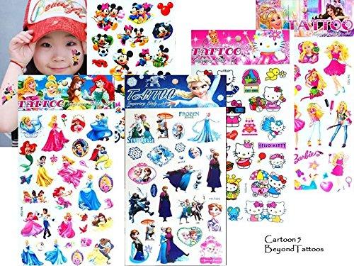 5 Bögen Cartoon Zeichentrick Prinzessin Tattoos Fake Tattoos Geschenk für Kinder