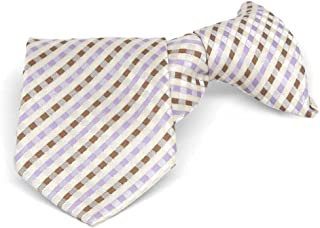 "TieMart Boys' Cream George Plaid Clip-On Tie, 11"" Length"