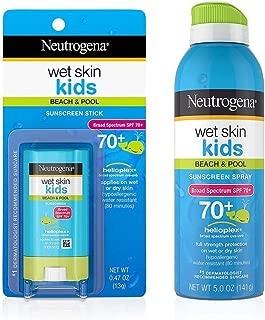 Neutrogena Wet Skin Kids Stick Sunscreen Broad Spectrum SPF 70 0.47 oz & Neutrogena Wet Skin Kids Sunscreen Spray Broad Spectrum SPF 70+ 5 oz 1 ea