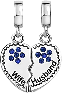 KunBead Engraved Wife and Husband Charms for Bracelets Love Heart Dangle Crystal Birthstone Women Gift for Anniversary Bir...