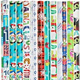 Bulk Variety (12 Pack) Christmas and All Occasion Wrapping Paper Reversible Rolls for Adults and Kids with Gift Tag Sticker Labels