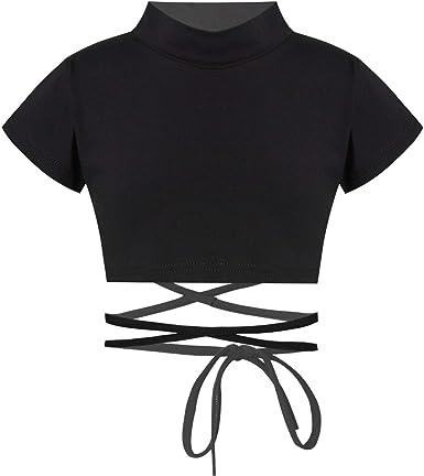 Amazon.com: TiaoBug Kids Girls Mock Turtleneck Long Sleeves Crop Tops Athletic Shiny Metallic Dance Crop Top Plain Sports Tee Shirts : Clothing, Shoes & Jewelry