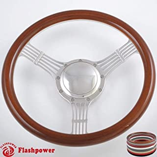 Flashpower 15.5'' Billet Steering Wheels Wood half wrap Banjo Corvair Impala Chevy II