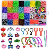 Toolbox Looms Bands Kit Rubber Bands for Bracelets 1500 DIY Loom Bands, 48 S-Clips,5 Charms, 100 Beads Loom Bracelet Making Kit for Kids