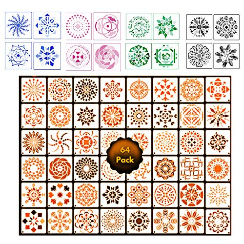 64Pack Small Mandala Stencils Large Stencils for Painting on Wood Canvas Furniture Fabric Stencil Flower Stencils for Wall Small Rangoli Stencil Mandala Template Stencil Pattern Stencils Rock Painting