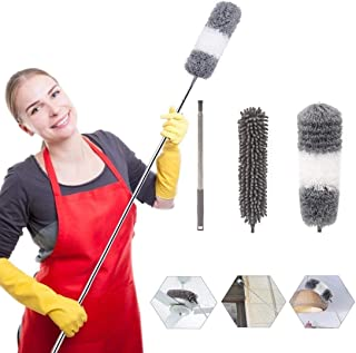Microfiber Duster Cleaning Kit Extendable Dusters for High Ceiling Fans Hand Wall Duster, Washable Dust Bru...