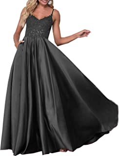 Sponsored Ad - Rudina Women's Long Satin Evening Dress Formal Prom Gowns with Pockets V Neck A-Line Appliques Prom Dresses