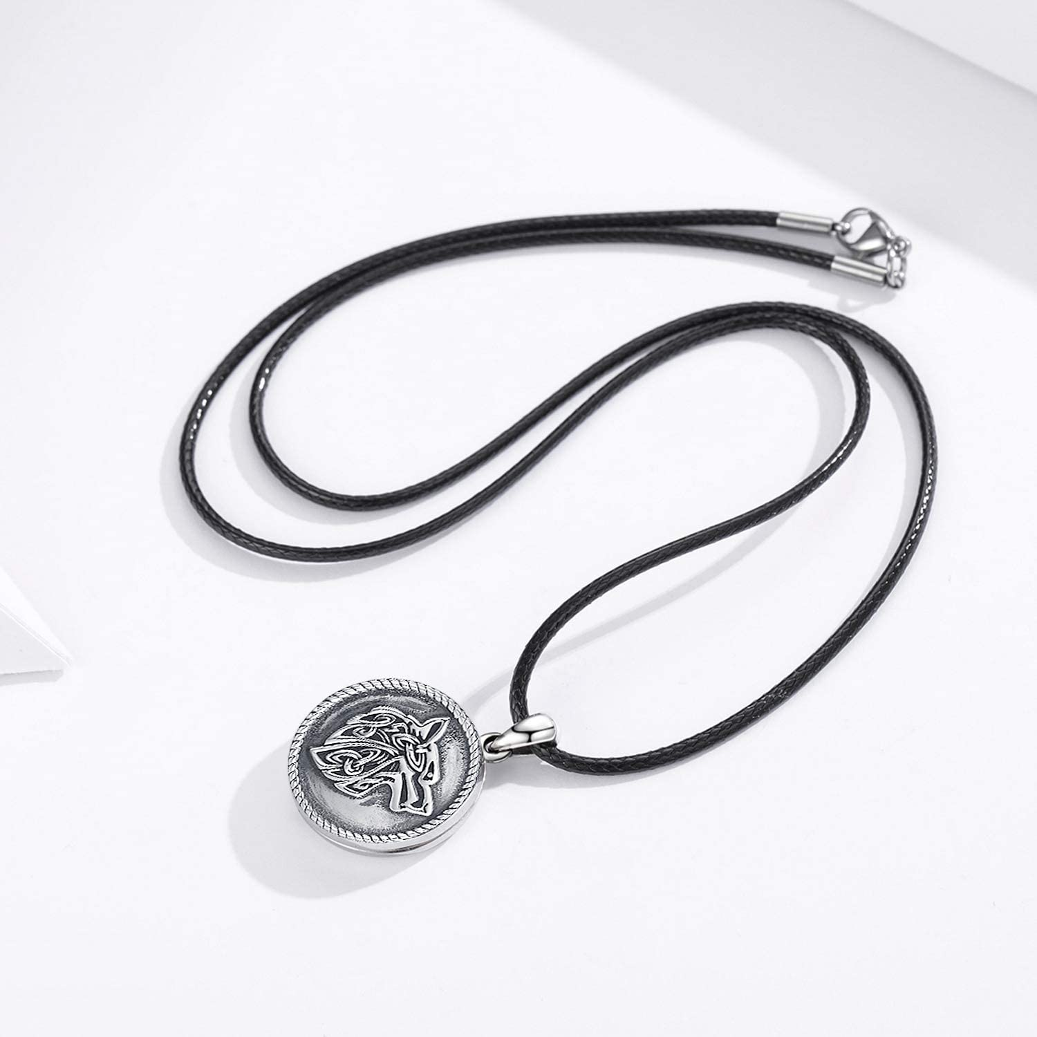 CHENGHONG Wolf Necklace Locket Necklace 925 Sterling Silver,Locket Necklace That Holds Pictures Vintage Oxidized Wolf Pendant for Women Viking Jewelry for Men