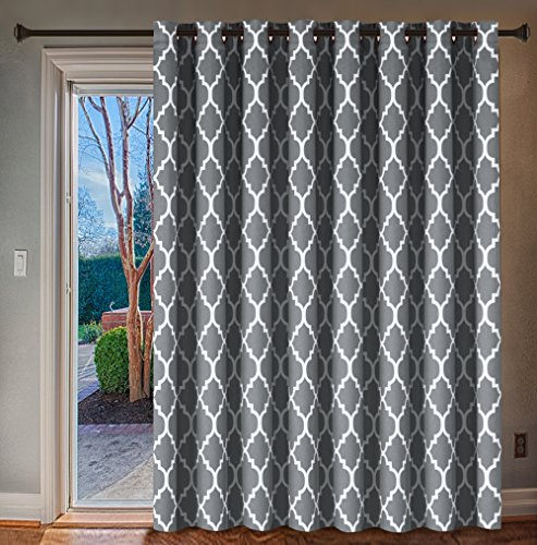 H.VERSAILTEX Extra Wide Blackout Curtain 100x96 Inches Thermal Insulated Curtain for Sliding Glass Door -Grommet Top Patio Door Curtain - Moroccan Tile Quatrefoil Pattern, Grey and White