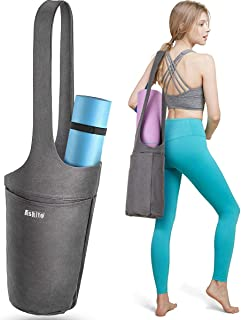 Yoga Mat Bag by ASKITO | Yoga Mat Tote Sling Carrier w/Large Side Pocket & Zipper Pocket | Fits Most Size Mats
