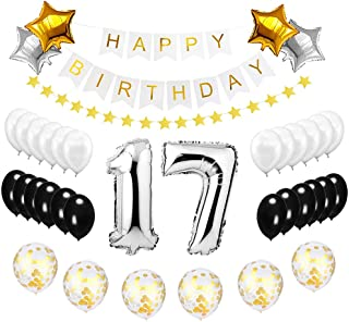 Best Happy to 17th Birthday Balloons Set - High Quality Birthday Theme Decorations for 17 Years Old Party Supplies Silver Black Gold