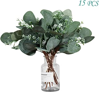 Molliy Artificial Eucalyptus Leaves Bouquet Artificial Greenery Silver Dollar Plant in Grey Green Wedding Holiday Table Plant 11.8