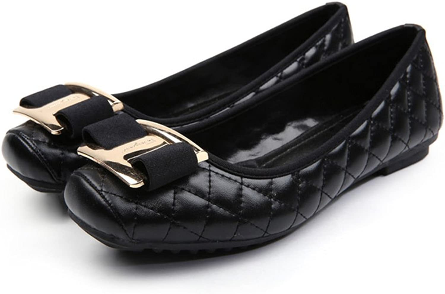 Metal Square Button Bowknot Flat Thin shoes black 41