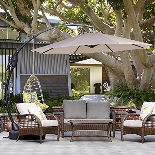 Grand patio Outdoor 11 FT Offset Umbrella with Base Included, Curved and Cantilevered, Aluminum (Champagne)