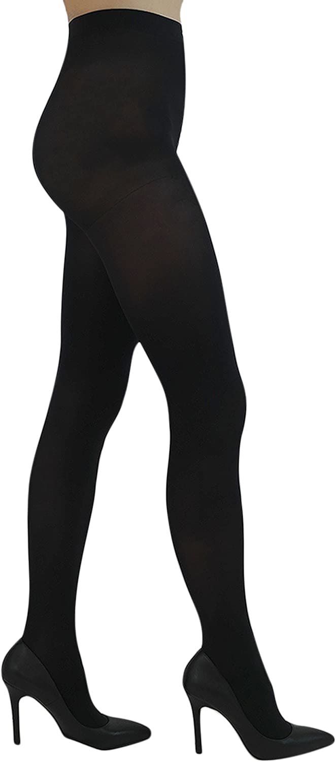 YourTights Everyday Opaque Semi Sheer Black Women's Tights 40 Denier Comfortable Light Control Top Made in USA