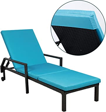 AECOJOY Adjustable Outdoor Chaise Lounge Chair Rattan Wicker Patio Lounge Chair Set of 2, for Outdoor Patio Beach Pool Backya