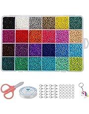 Glas Zaad Kralen, Kleine Pony Kralen Verschillende Kit Ondoorzichtige Kleuren Craft Seed Kralen, voor Sieraden maken Vinden Kunst Craft DIY Decoratie (24 kleuren 2 mm)