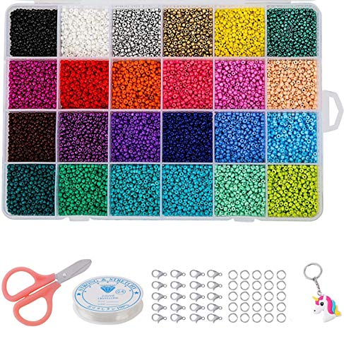 LaoSiJi 24000 Pieces Round Glass Seed Beads 24 Colours Beads for Crafts, 2 mm (24 Farben 2mm)