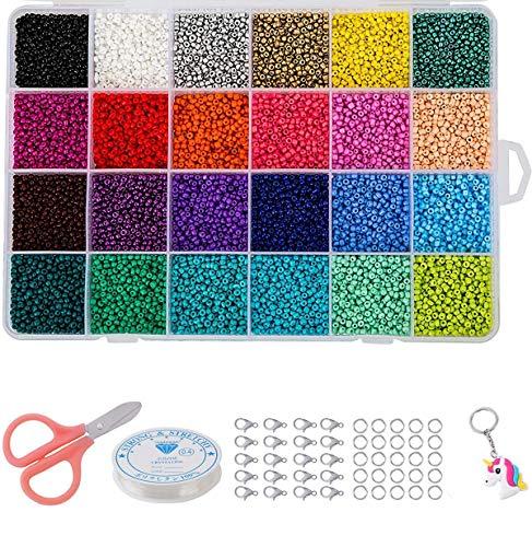 Cuentas de Colores 2mm Mini Cuentas y Abalorios Cristal para DIY Pulseras Collares Bisutería (24 Colores)