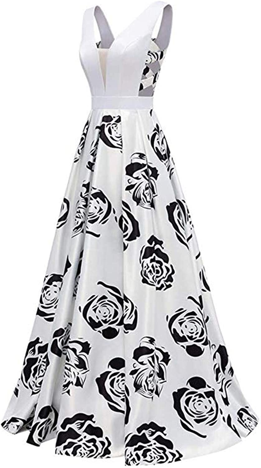 Scarisee Womens Floral Printing VNeck Prom Evening Party Dress Pockets FormalSA147
