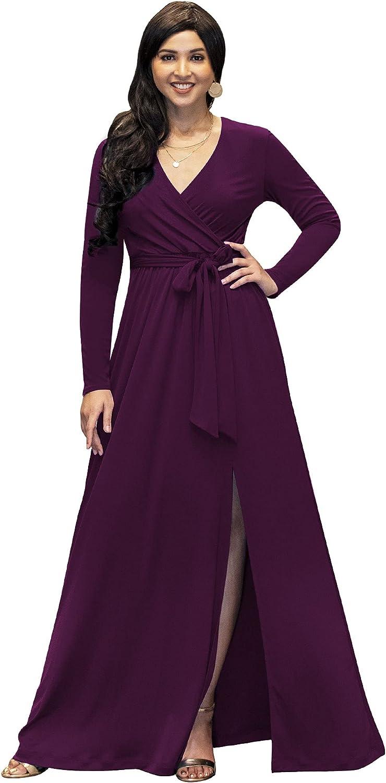 KOH KOH Womens Long Sleeve V-Neck High Slit Cocktail Evening Gown Maxi Dress