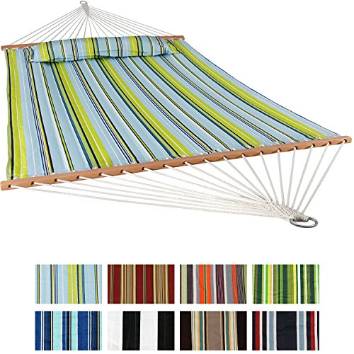 Sunnydaze Quilted Fabric Hammock with Spreader Bars - Large Two Person Hammock for Backyard & Patio - Heavy Duty 450 Pound Capacity - Blue & Green