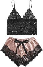 Xinantime Womens Hipster Sexy Lace Silk Underwear Ruffled Camisole Sleepwear Pajamas Satin Bowknot Short Pant