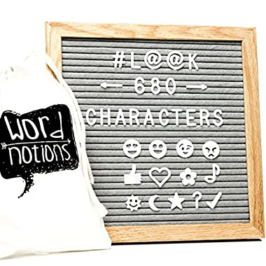 Gray Felt Letter Board | 680 Characters, Letters & Emojis | @, #, $, ♥,¢, ?, ♪, :), & MORE | Drawstring Canvas Pouch | 10  x 10  Oak Wood Frame