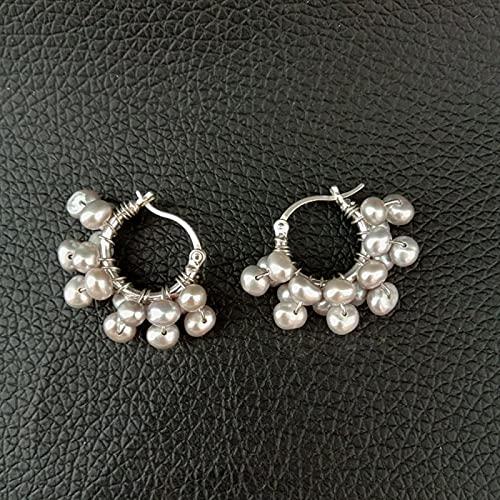 YANXIA Pendientes Vintage para Mujer Pendientes de Perlas Grises Hechos a Mano Lindos para Mujer Pendientes Decorativos Simples y Elegantes