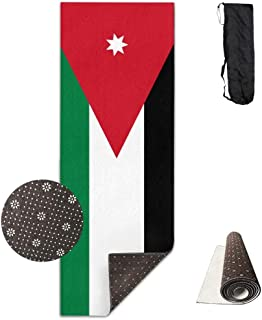 wenhuamucai National Flag of Jordan Yoga Mat - Advanced Yoga Mat - Non-Slip Lining - Easy to Clean - Latex-Free - Lightweight and Durable - Long 180 Width 61cm