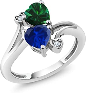 1.51 Ct Green Simulated Emerald Blue Simulated Sapphire 925 Sterling Silver Ring (Available 5,6,7,8,9)