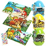 Dinosaur Jigsaw Puzzles for Kids Ages 4-8, 3 Pack 60 Pieces Puzzle with Dinosaur Easter Eggs Great for Surprise Gift, Party Favors Toys for Children, Toddler, Boys, Girls 3,4,5, 6,7,8 Year Olds