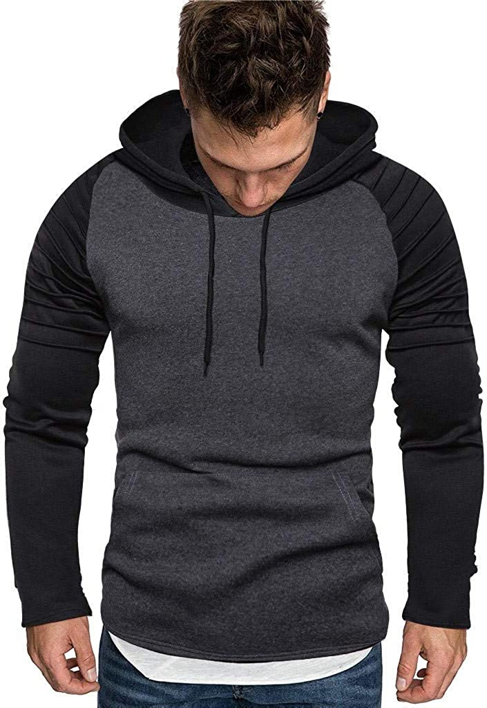 Hoodies for Men, Misaky Casual Colorblock Patchwork Long Sleeve Hooded Pockets Pullover Sweatshirts Junmper Tops