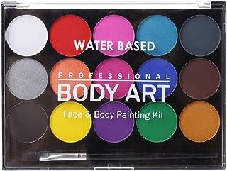 WINJEE, 15 Colores, no tóxicos, solubles en Agua, Pintura Corporal, pigmentos, Maquillaje, Kit de Pintura Facial con brocha para Navidad, Fiesta de Carnaval, 15 Colores
