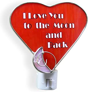 Heart Night Light - I Love You to The Moon and Back Saying - Stained Glass Heart and Moon Design