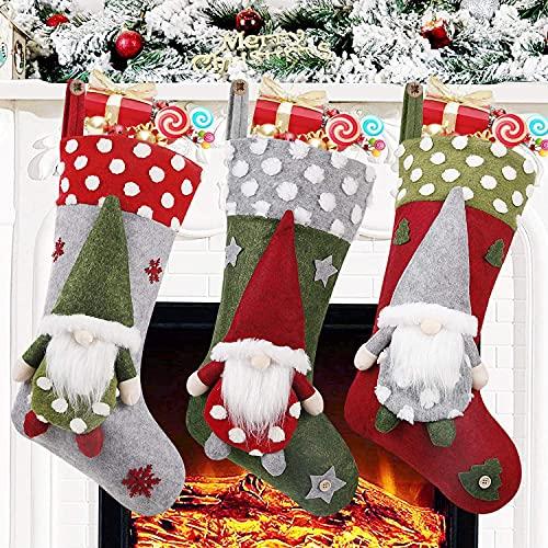 3 Pacote Meia do Natal,19 Inch 3D Gnomos Bolsas de Natal Existências Suspensas do Local de Incêndio Para a Decoração de Natal de Família Xmas Caracteres de Férias Decodificador de Festas