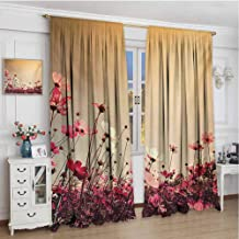 Floral Heat Insulation Curtain Spring Summer Season Inspired Garden Flowers Poppies Photo Image for Living Room or Bedroom W108 x L108 Inch Pale Pink Khaki and Pink